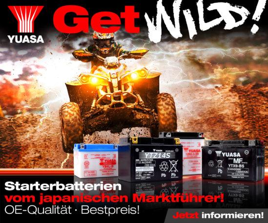 Yuasa Battery - Get-Wild! - Starterbatterien vom japanischen Marktführer in OE-Qualität zum Bestpreis - Quad im Gelände und voller Aktion.