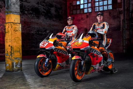 HRC Repsol Honda Fahrer Marc Márquez und Pol Espargaró rüsten sich für die neue MotoGP Saison powered by Yuasa