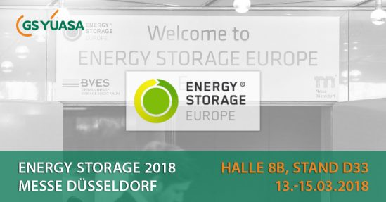 Energy Storage 2018: GS YUASA in Halle 8B, Stand D33